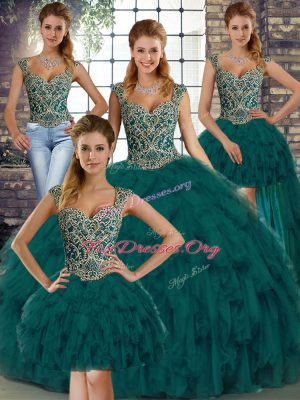 Sophisticated Peacock Green Sleeveless Organza Lace Up Sweet 16 Dress for Military Ball and Sweet 16 and Quinceanera