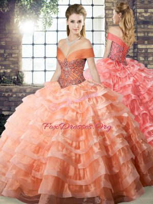 Custom Designed Organza Off The Shoulder Sleeveless Brush Train Lace Up Beading and Ruffled Layers Ball Gown Prom Dress in Peach