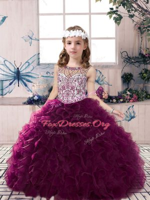 Superior Floor Length Lace Up Little Girls Pageant Dress Wholesale Dark Purple for Party and Sweet 16 and Wedding Party with Beading and Ruffles