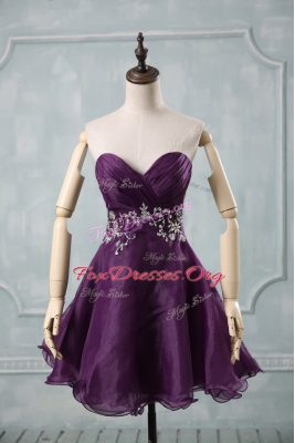 Low Price Sleeveless Organza Mini Length Lace Up Club Wear in Purple with Appliques and Ruching