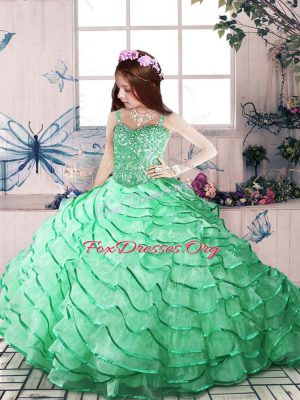Apple Green Ball Gowns Straps Sleeveless Organza Court Train Lace Up Beading and Ruffled Layers Kids Pageant Dress