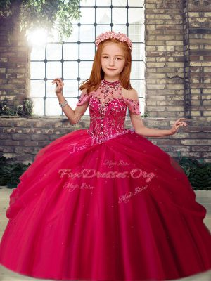 Trendy Hot Pink Lace Up Little Girls Pageant Dress Wholesale Beading Sleeveless Floor Length