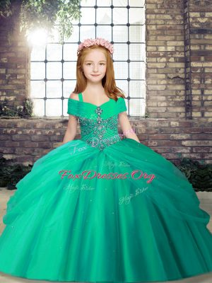 Affordable Tulle Straps Sleeveless Lace Up Beading Kids Formal Wear in Turquoise