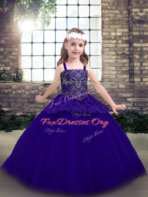 New Style Floor Length Purple Kids Formal Wear Tulle Sleeveless Beading