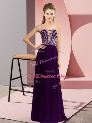 Floor Length Lace Up Prom Dress Dark Purple for Prom and Party with Beading