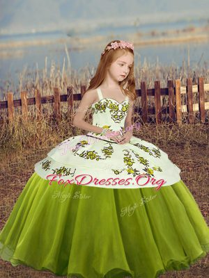 Olive Green Sleeveless Embroidery Floor Length Kids Formal Wear