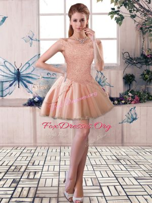 Extravagant Sleeveless Tulle Mini Length Lace Up Club Wear in Peach with Beading
