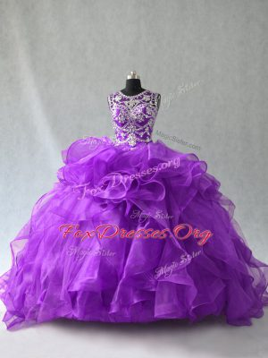 Most Popular Organza Sleeveless Floor Length Quinceanera Dresses and Beading and Ruffles