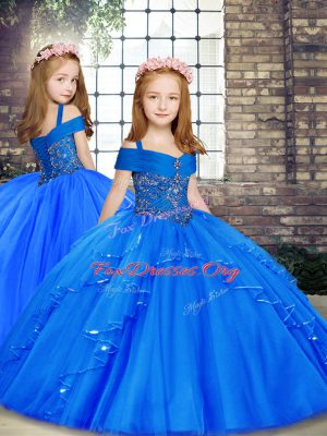 Straps Sleeveless Tulle Custom Made Pageant Dress Beading Lace Up