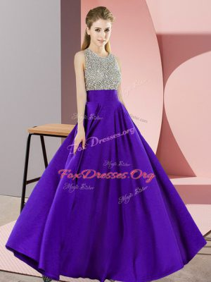 High Quality Purple Elastic Woven Satin Backless Scoop Sleeveless Floor Length Prom Evening Gown Beading