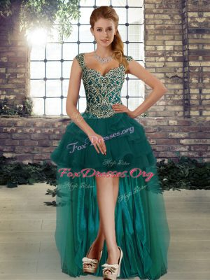 Sleeveless Tulle High Low Lace Up Prom Dress in Dark Green with Beading and Ruffles