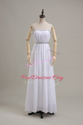 Custom Designed White Strapless Backless Beading Wedding Dress Sleeveless