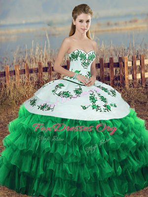 Green Ball Gowns Embroidery and Ruffled Layers and Bowknot Vestidos de Quinceanera Lace Up Organza Sleeveless Floor Length