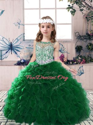 Most Popular Scoop Sleeveless Organza Pageant Dress for Womens Beading and Ruffles Lace Up