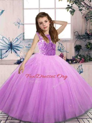 Bateau Sleeveless Little Girls Pageant Dress Floor Length Beading Lilac Tulle