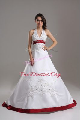 Clearance White Bridal Gown Wedding Party with Beading and Embroidery Halter Top Sleeveless Brush Train Lace Up