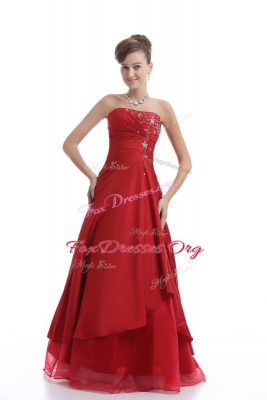 Floor Length Red Prom Dress Organza Sleeveless Embroidery