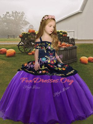 Low Price Floor Length Zipper Pageant Dress for Womens Eggplant Purple for Party and Wedding Party with Embroidery