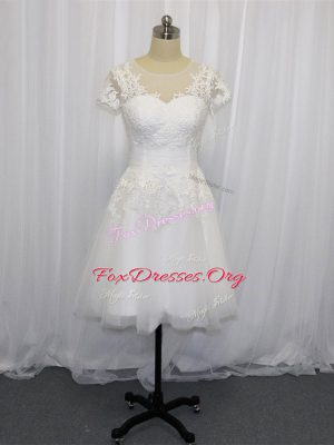 Glorious White Empire Scoop Short Sleeves Tulle Mini Length Zipper Lace Wedding Gown