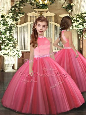 Coral Red Ball Gowns Beading Little Girls Pageant Gowns Zipper Tulle Sleeveless Floor Length