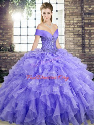 Lavender Ball Gown Prom Dress Off The Shoulder Sleeveless Brush Train Lace Up