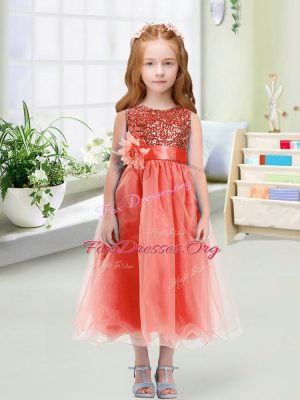 Sleeveless Organza Tea Length Zipper Flower Girl Dresses in Watermelon Red with Sequins and Hand Made Flower