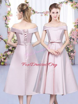 Customized Sleeveless Satin Tea Length Lace Up Dama Dress in Baby Pink with Bowknot