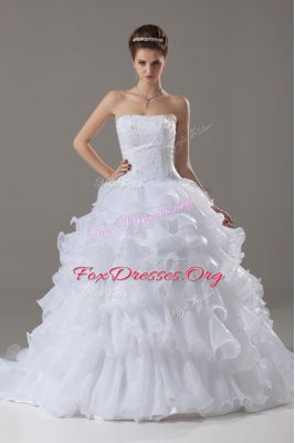 Fabulous Lace and Ruffled Layers Wedding Gowns White Lace Up Sleeveless Brush Train