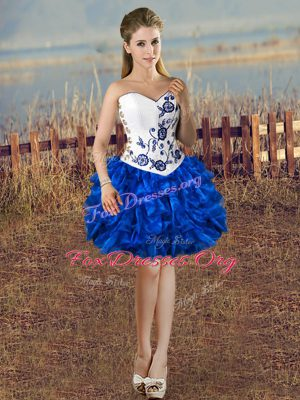 Blue And White Sleeveless Mini Length Embroidery and Ruffles Lace Up Dress for Prom