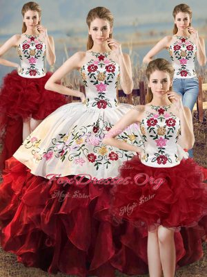 Superior Embroidery and Ruffles 15th Birthday Dress White And Red Lace Up Sleeveless Floor Length