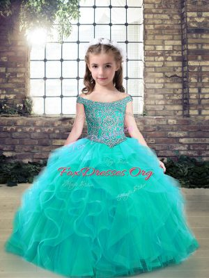 Aqua Blue Ball Gowns Tulle Off The Shoulder Sleeveless Beading and Ruffles Floor Length Lace Up Little Girls Pageant Dress Wholesale