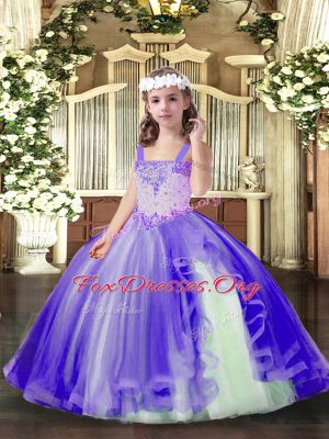 Stylish Straps Sleeveless Kids Formal Wear Floor Length Beading Lavender Tulle