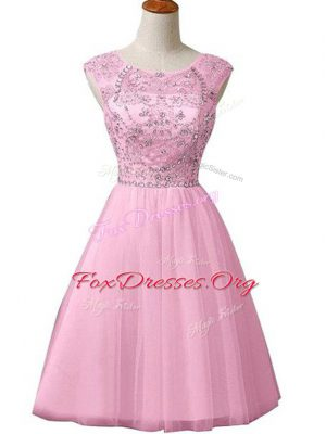 Popular Mini Length A-line Sleeveless Baby Pink Prom Evening Gown Zipper