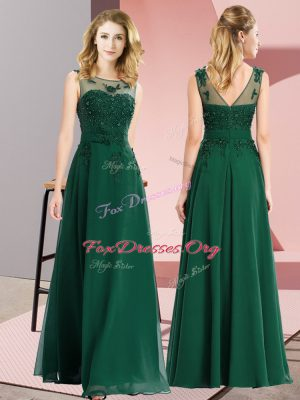 Elegant Scoop Sleeveless Quinceanera Court of Honor Dress Floor Length Beading and Appliques Dark Green Chiffon