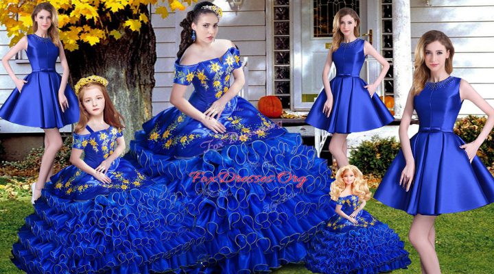 Exquisite Lace Up Quinceanera Gown Royal Blue for Sweet 16 and Quinceanera with Embroidery and Ruffles