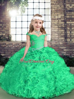 Straps Sleeveless Side Zipper Little Girl Pageant Dress Green Fabric With Rolling Flowers