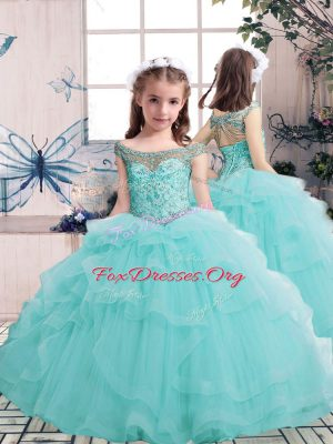 Aqua Blue Scoop Lace Up Beading Kids Formal Wear Sleeveless