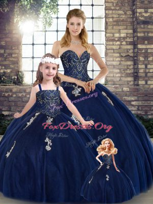Glittering Floor Length Ball Gowns Sleeveless Navy Blue Ball Gown Prom Dress Lace Up