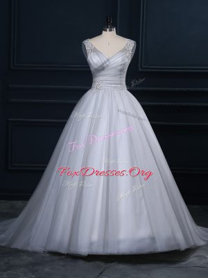 Grey Sleeveless Tulle Court Train Lace Up Bridal Gown for Wedding Party