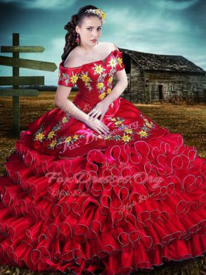 Off The Shoulder Sleeveless Quince Ball Gowns Floor Length Embroidery and Ruffles Red Organza