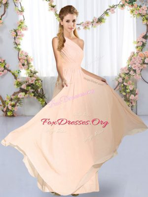 Popular Empire Dama Dress Peach One Shoulder Chiffon Sleeveless Floor Length Lace Up