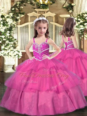 Floor Length Lilac Little Girls Pageant Dress Straps Sleeveless Lace Up