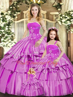 Beading and Ruffled Layers Quince Ball Gowns Lilac Lace Up Sleeveless Floor Length