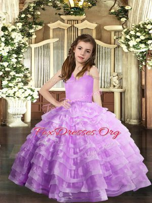 High Class Lavender Straps Neckline Ruffled Layers Child Pageant Dress Sleeveless Lace Up