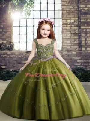 Olive Green Ball Gowns Beading Little Girl Pageant Dress Lace Up Tulle Sleeveless Floor Length