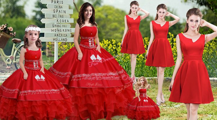 Noble Embroidery and Ruffles Sweet 16 Dress Red Lace Up Sleeveless Floor Length
