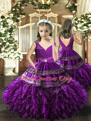 Floor Length Backless Pageant Dress for Teens Eggplant Purple and In with Beading and Appliques and Ruffles and Ruching