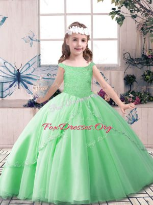 Apple Green Off The Shoulder Lace Up Beading Little Girl Pageant Dress Sleeveless