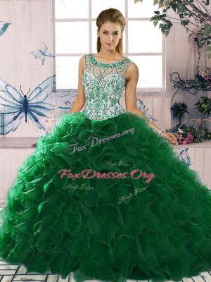 Sleeveless Floor Length Beading and Ruffles Lace Up Ball Gown Prom Dress with Dark Green