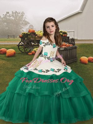 Turquoise Lace Up Straps Embroidery and Ruffled Layers Kids Formal Wear Tulle Sleeveless